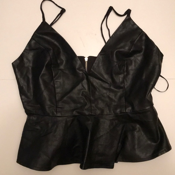 Tops - Black Faux Leather Top